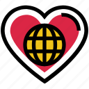 earth, favorite, globe, heart, love, valentine's day, world icon