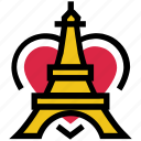 eiffel, famouse, france, heart, paris, tower, valentine's day