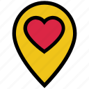 heart, location, love, marker, navigation, pin, valentine's day icon