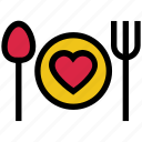 dining, heart, knife, love, plate, spoon, valentine's day icon
