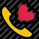 heart, love, phone receiver, receiver, romantic talk, valentine's day icon