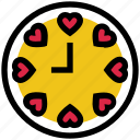 clock, heart, hour, love, time, valentine's day icon