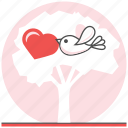 bird, bird in love, love, sweet, tree, valentine, valentine's day icon