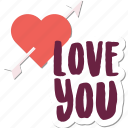 arrow, couple, day, heart, love, message, valentine icon