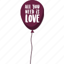 baloon, day, holiday, love, message, valentine icon