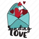 day, heart, letter, love, message, sending, valentine icon