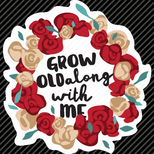 flowers, love, message, rose, wedding, wreath icon