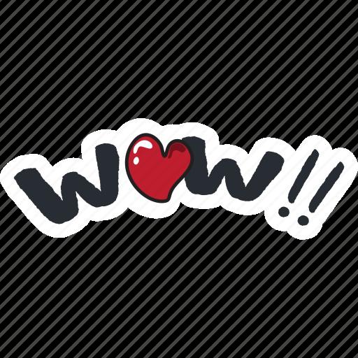 day, heart, love, sign, valentine, wow icon