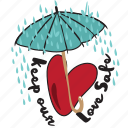 day, heart, love, rain, safe, umbrella, valentine icon
