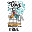 bird, cage, couple, day, free, love, valentine icon