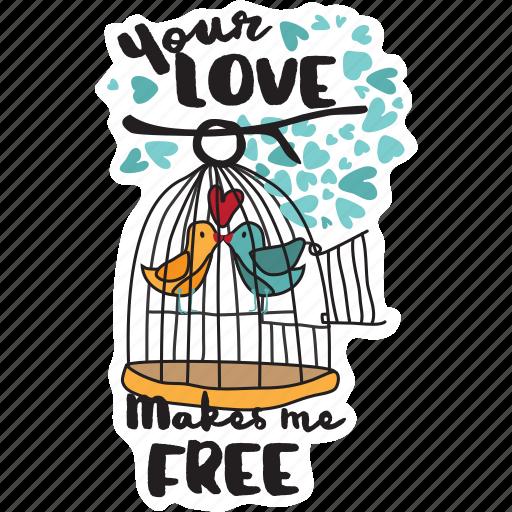 bird, cage, couple, day, free, love, valentine icon