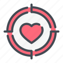 heart, hit, love, target icon