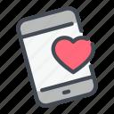 heart, love, mobile, phone, send icon