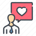 chat, heart, love, man, messase, person icon