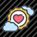 cloud, heart, love, sun