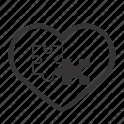 heart, love, puzzle, puzzle piece, valentine, valentine's day, valentines icon