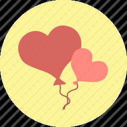 balloons, hearts, valentine, valentine's day, valentines icon