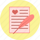 feather, heart, letter, love, quill, valentine, valentine's day icon