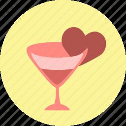 drink, glass, heart, valentine, valentine's day, valentines, wine icon