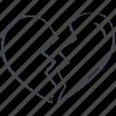 broken heart, heart, love, lovely, valentine, valentine's day icon