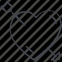 arrow, broken heart, heart, love, lovely, valentine, valentine's day icon