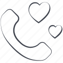 call, love, lovely, message, telephone, valentine, valentine's day icon