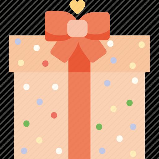 gift, heart, love, present, romantic, valentine's day, valentines icon