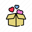 box, love, lovers, present, surprise, valentine's icon