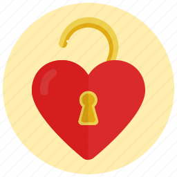 heart, love, unlocked, valentine icon