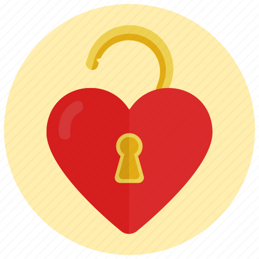 heart, love, unlocked, valentine icon