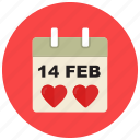 calendar, date, day, event, valentine icon