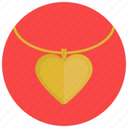 gold, heart, necklace, pendant, valentine, valentine's day icon