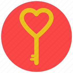 heart, key, love, valentine icon