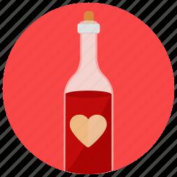 bottle, drink, romance, valentine, wine icon