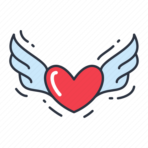 heart, inspiration, valentine, wings icon