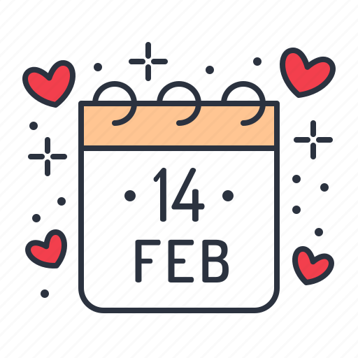 calendar, day, february, valentine icon