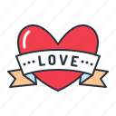 heart, love, ribbon, valentine icon