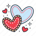 biscuit, hearts, love, valentine icon