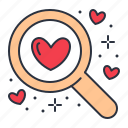 find, love, romance, search icon