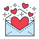 envelope, hearts, invitation, valentine icon
