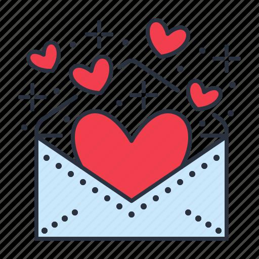 Valentines day wedding colored by nadiinko envelope hearts invitation valentine icon stopboris Image collections