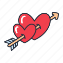 arrow, hearts, love, valentine icon