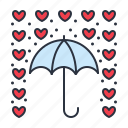 hearts, love, no, umbrella icon