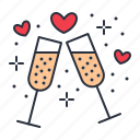 champagne, date, romantic icon