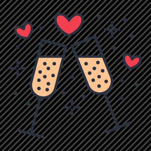 champagne, date, romantic icon