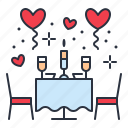 date, restaurant, romantic icon