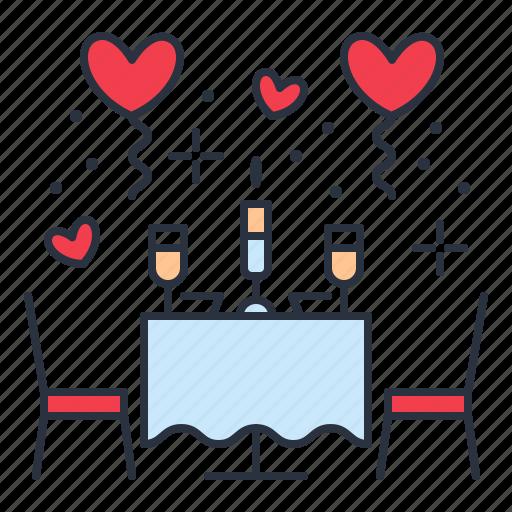 date, restaurant, romantic icon