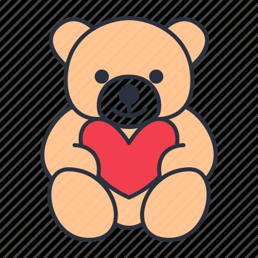 bear, heart, teddy, toy icon