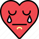 cry, emoji, emotion, grief, heart, sad icon