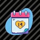 calendar, date, february 14, love, valentine, valentine's day, wedding day icon